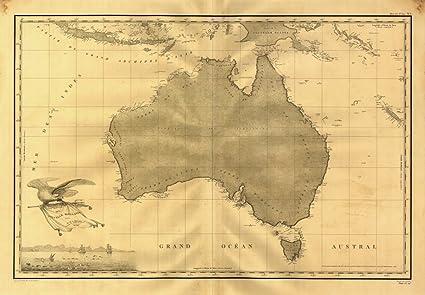 Carte Map Australia.Amazon Com 1808 Map Australia Carte Generale De La