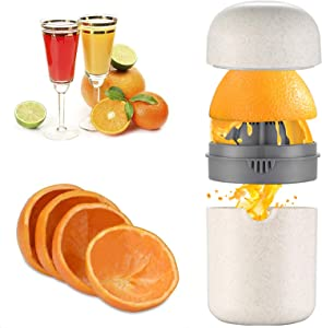 Hand Juicer Press, Citrus Juicer Hand, Squeezer juicer Manual Orange Juicers, Anti-Slip Reamer with Strainer and Container with Orange Peeler and Brush for Home Office