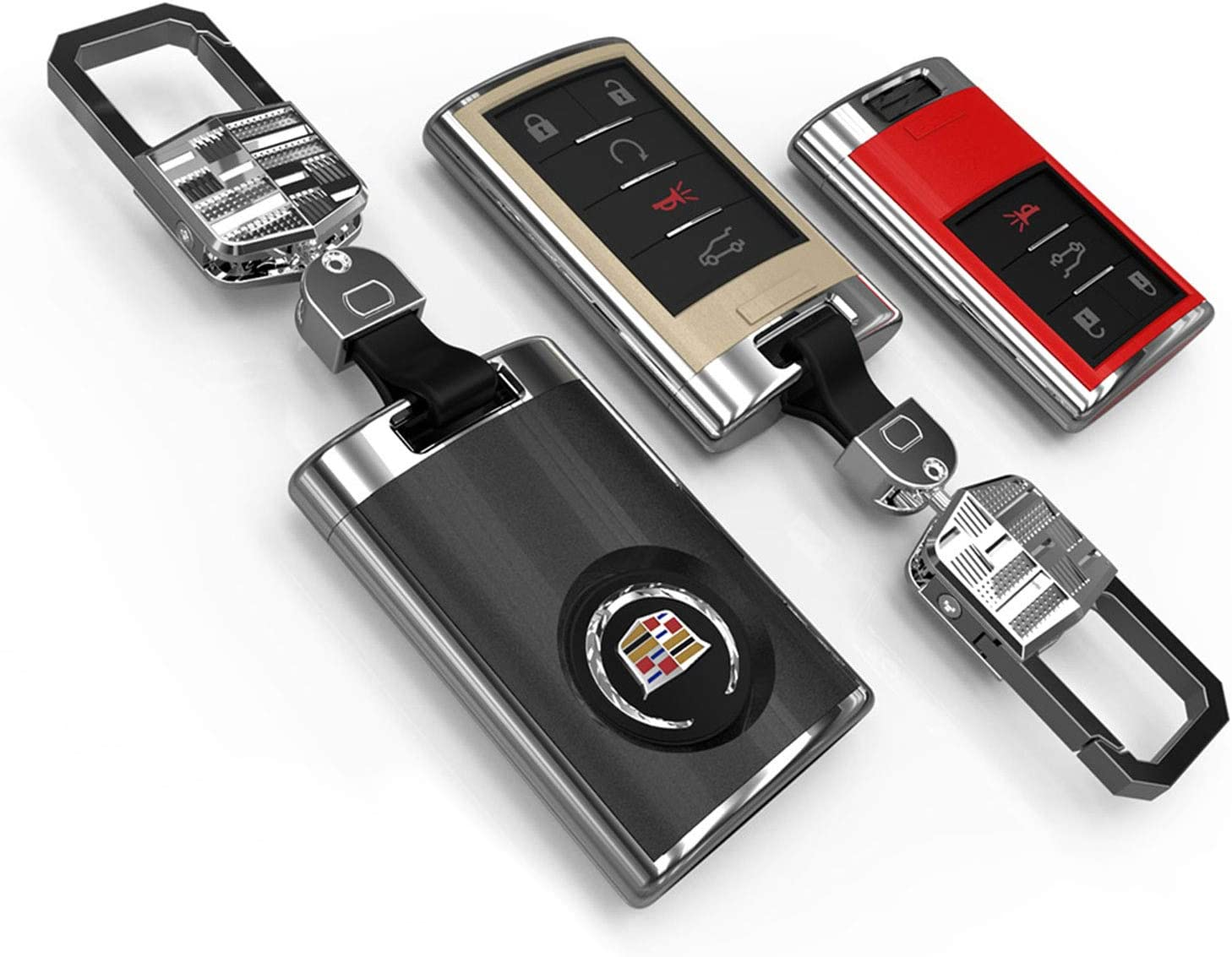 Kwaks Key Case Fit for Cadillac XTS SRX SLS CTS ATS Seville Escalade Round Logo 5 Button ABS Plastic Key Holder Cover,with Key Chain Red