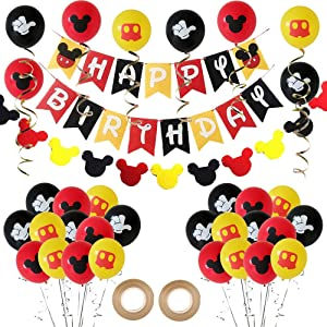 Mouses Balloons with Banner Garland kit,45Pcs 12 Inch Red Black Yellow Color Balloons Banner Garland for Baby Shower Birthday Mouses Theme Party Supplies