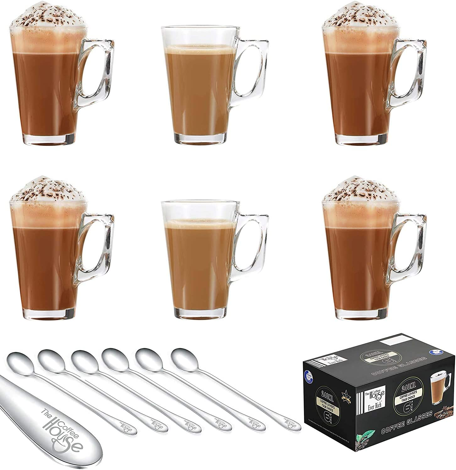 Ever Rich Tea Coffee Latte Glass Cup Mug 240ml X 6 Glasses Option 1 Amazon Co Uk Kitchen Home