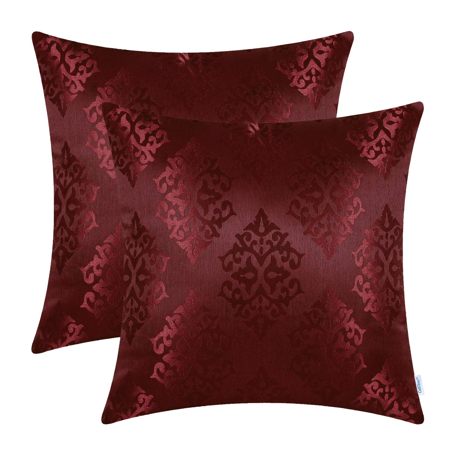 CaliTime Pack of 2 Throw Pillow Covers Cases for Couch Sofa Home Decoration Vintage Damask Shining & Dull Contrast 18 X 18 Inches Burgundy