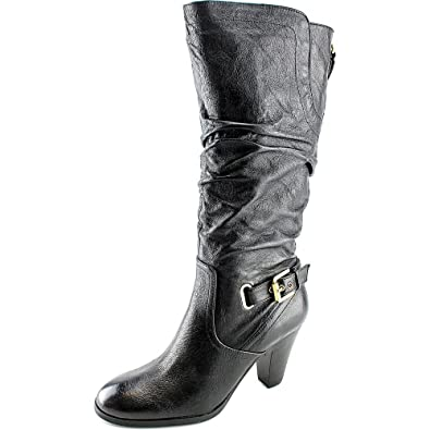 GUESS Womens Mallay Leather Almond Toe MidCalf Fashion Boots Black Size 10.0