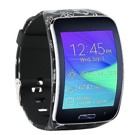 Fit-power - Bracelet de rechange avec boucle de sécurité pour Samsung Galaxy Gear S R750, Flower-A: Amazon.fr: Sports et Loisirs