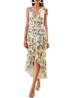 3399ec4fe909 Simplee Apparel Women s Strap Ruffle Cold Shoulder Floral Print Wrap Maxi  Dress Beach