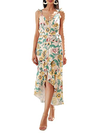 28f10ba65d90 Simplee Women s Sexy V Neck Spaghetti Strap Floral Wrap Causal Maxi Dress
