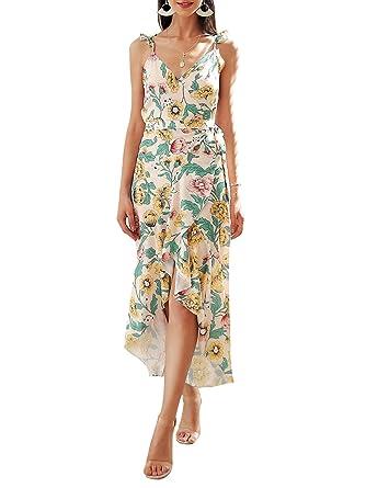 cc0c5d3c84 Simplee Women s Sexy V Neck Spaghetti Strap Floral Wrap Causal Maxi Dress