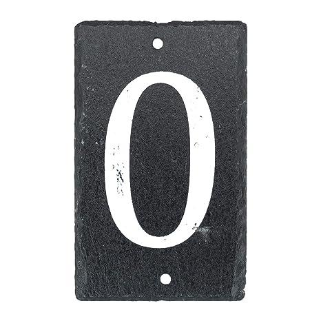 número de casa de pizarra natural sólido incluyendo fijaciones y gorras - Número 0