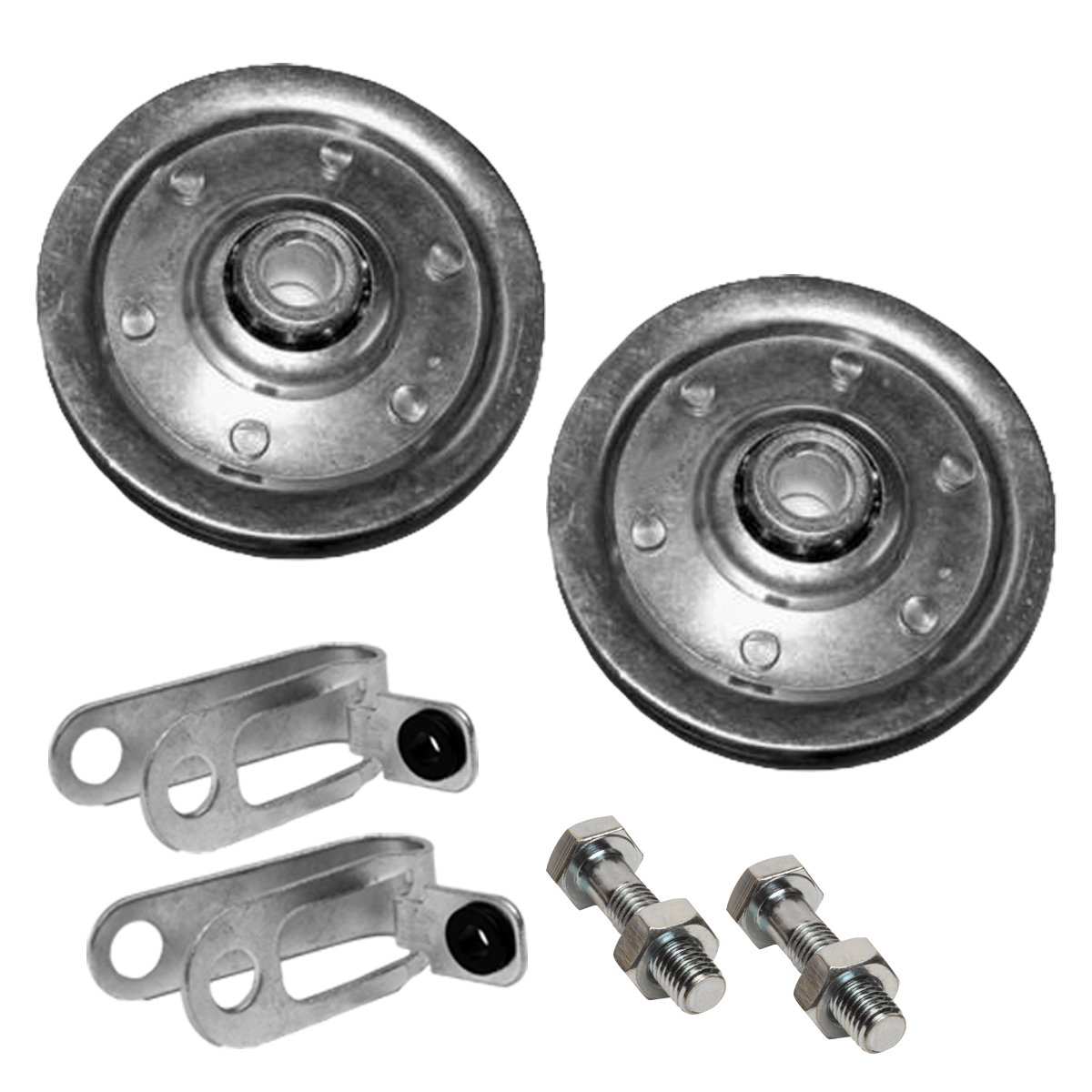 Garage Door Pulley 3'' and Safety Cable Guide for Extension Springs (Pair)