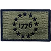 Tactical USA 1776 Patriot Milltary Embroidered Applique Morale Hook & Loop Patch - Olive Drab & Black
