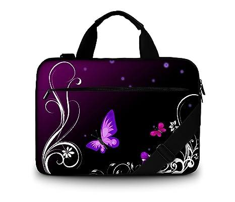 Luxburg® - Bolso acolchado con bandolera para ordenador portátil, bolsa de hombro multifuncional mariposas