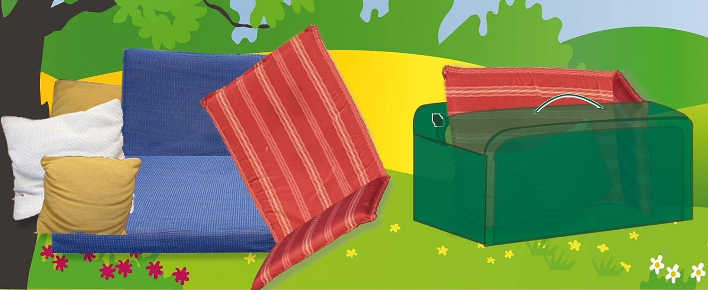 Funda cubre mobili di giardino impermeabile Deluxe per cuscini. Poliestere verde. Centroflor