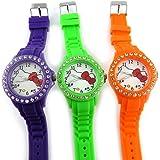 3 designer-uhren 'Hello Kitty'violett, grün, orange.