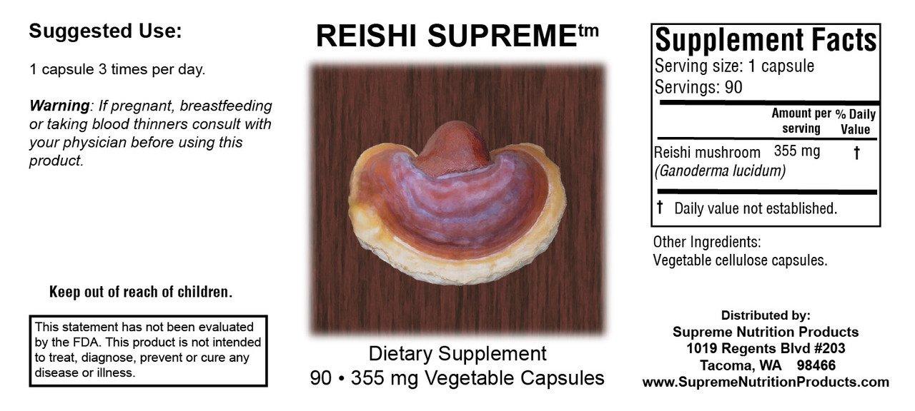 Supreme Nutrition Reishi Supreme, 90 Pure Ganoderma lucidum Capsules