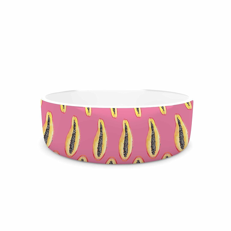 KESS InHouse Danii Pollehn Papaya Pink orange Illustration Pet Bowl, 7  Diameter