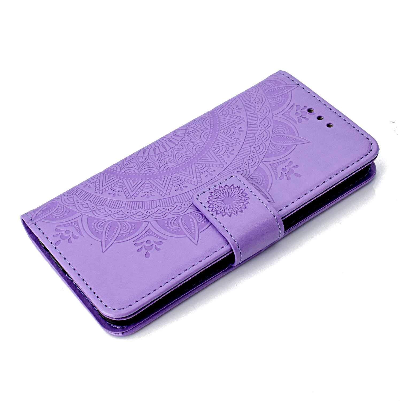 Huawei Honor 9 PU /Étui /à Rabat Violet Stand Flip Coque avec Fonction de Support et Fente pour Cartes CAXPRO/® Coque en Cuir pour Huawei Honor 9