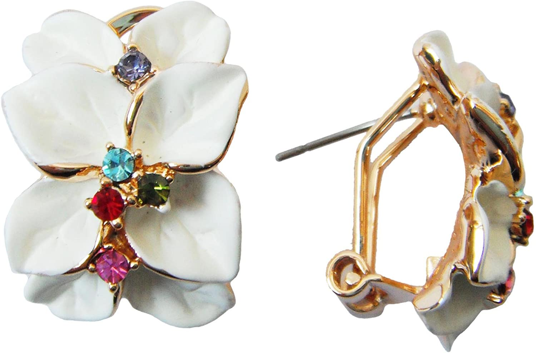 navachi 18K chapado en oro cristal multicolor esmalte hojas flor Omega pendientes