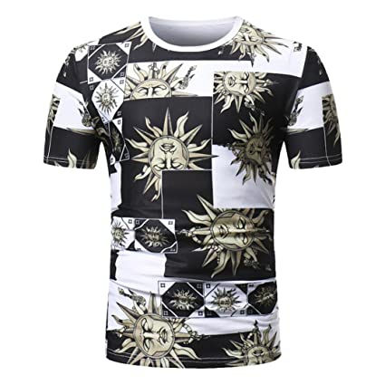 ee310e312 WuyiM® Boho Floral Print T Shirts Men's Casual Personality Ethnic Style  Slim Short Sleeve Linen