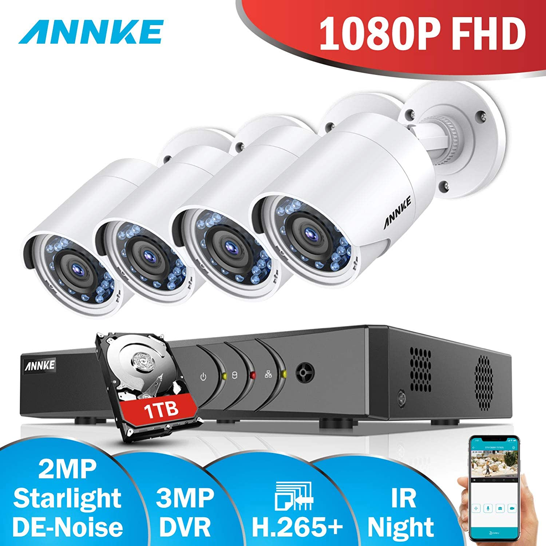 ANNKE Kit de 4 Cámaras de Vigilancia (Onvif H.265+ CCTV DVR P2P 4CH 1080P y 4 Cámaras 2MP IP66 IR-Cut Visión Nocturna Exterior y Interior) - 1TB Disco duro ...