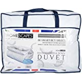 Homescapes Double 13.5 Tog New White Duck Feather & Down Duvet - 100% Cotton Anti Dust Mite & Down Proof Cover - Anti allergen - Washable at Home Luxury Winter Quilt