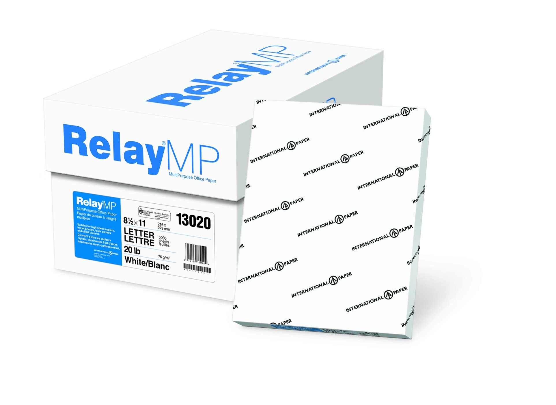 Relay Multipurpose Copy Paper, 8.5 x 11 Paper, 20lb Paper, Letter Size, 92 Bright, 10 Reams / 5,000 Sheets, Acid Free Paper (013020C)