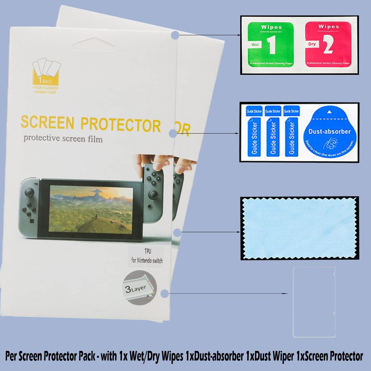 Wemk Nintendo Switch Pack Completo de protección incluye : 1 Estuche/Funda de color Negro con muñeca, 1 Juego de Protección en Silicono para Joy Con, 2 Cajas para Cartuchos de Juegos, 2