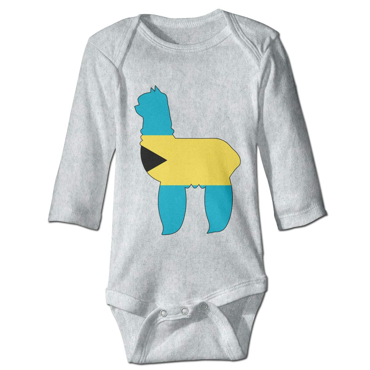 Infant Baby Girls Long Sleeve Baby Clothes Bahamas Flag with Alpaca Unisex Button Playsuit Outfit Clothes