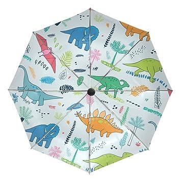 baihuishop dinosaurios con hojas de palmera resistente al viento lluvia paraguas Auto abierto cerca 3 plegable