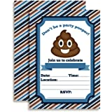 """Poop Emoji Party Pooper Birthday Party Invitations for Boys, Ten 5""""x7"""" Fill In Cards with 10 White Envelopes by AmandaCreation"""