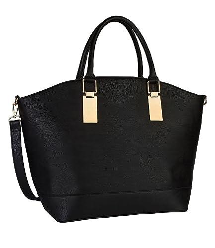 Basic große, stabile Damen Handtasche, schwarzer, eleganter Shopper mit goldenen Akzenten, Henkel und abnehmbarer Umhänge Riemen (427-400) SIX