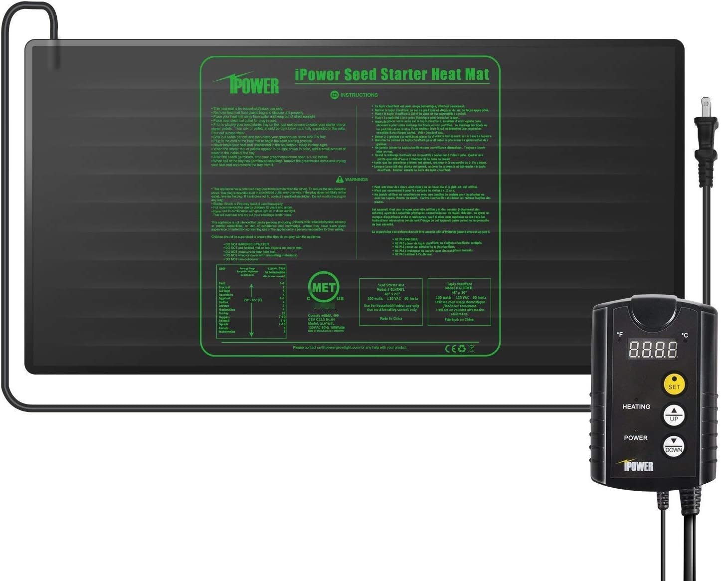 """iPower 48"""" x 20"""" Warm Hydroponic Seedling Heat Mat and Digital Thermostat Control Combo Set for Seed Germination"""