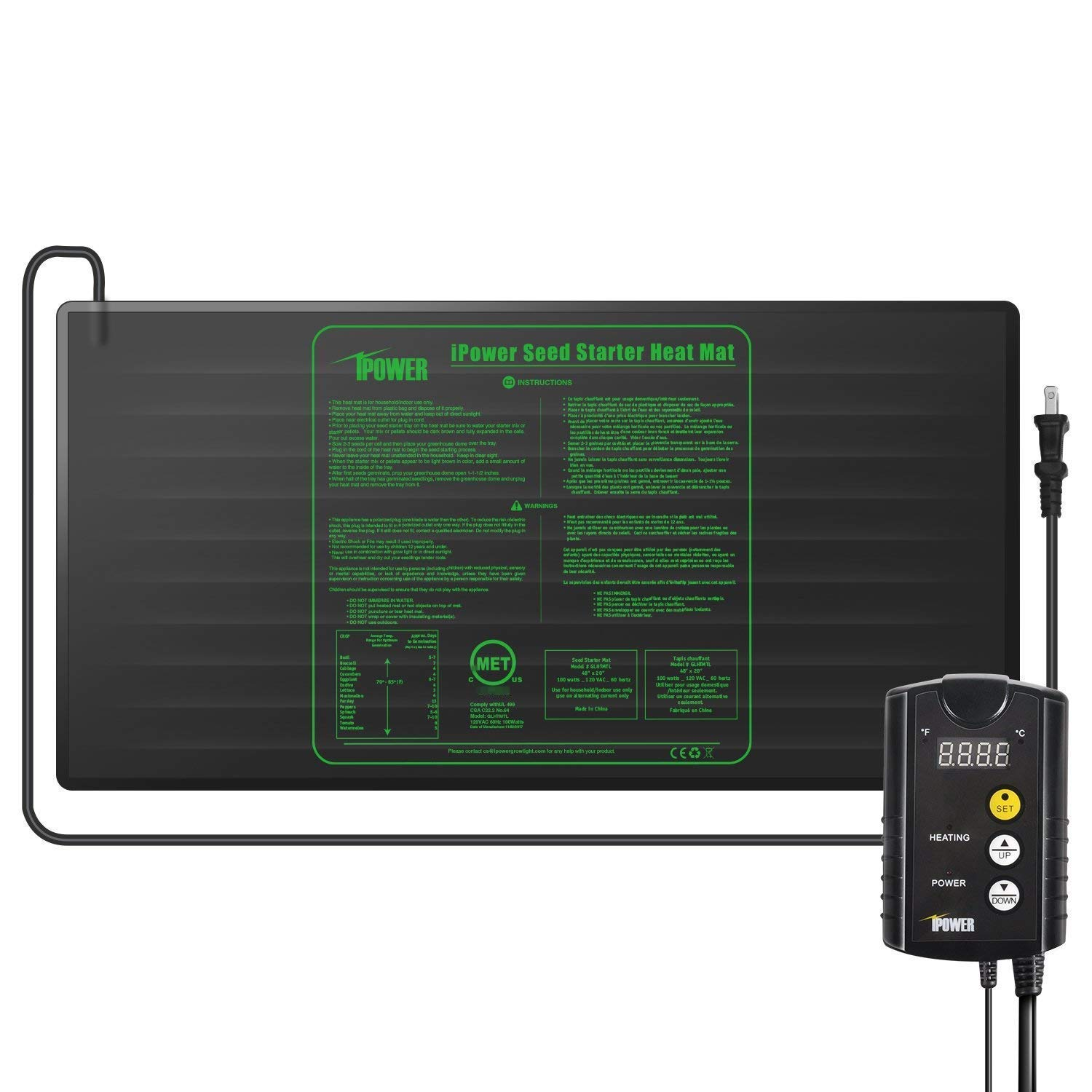 iPower 48 x 20 Warm Hydroponic Seedling Heat Mat and Digital Thermostat Control Combo Set for Seed Germination