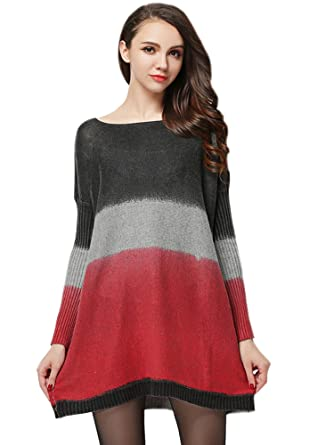 Medeshe Women s Knit Pull Over Wool Sweater Oversized Jumper Dress  (Black Grey Red 9d600ba5c