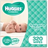 Huggies Fragrance Free Baby Wipes Tubs (Pack of 320), Packaging may vary