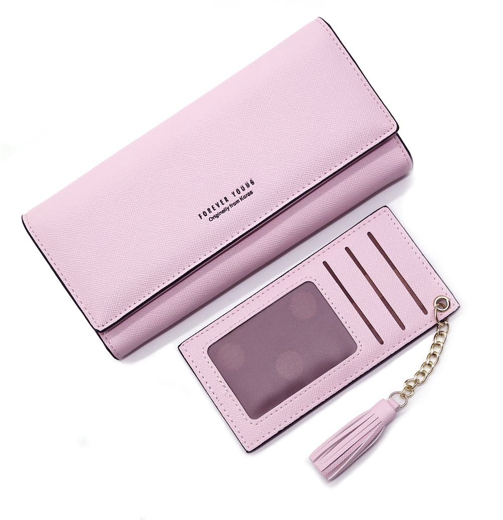Wallets for Women, Slim Clutch Long Leather Purse Lady Checkbook Credit Card Holder with a Removable Card Slot (A-Pink)