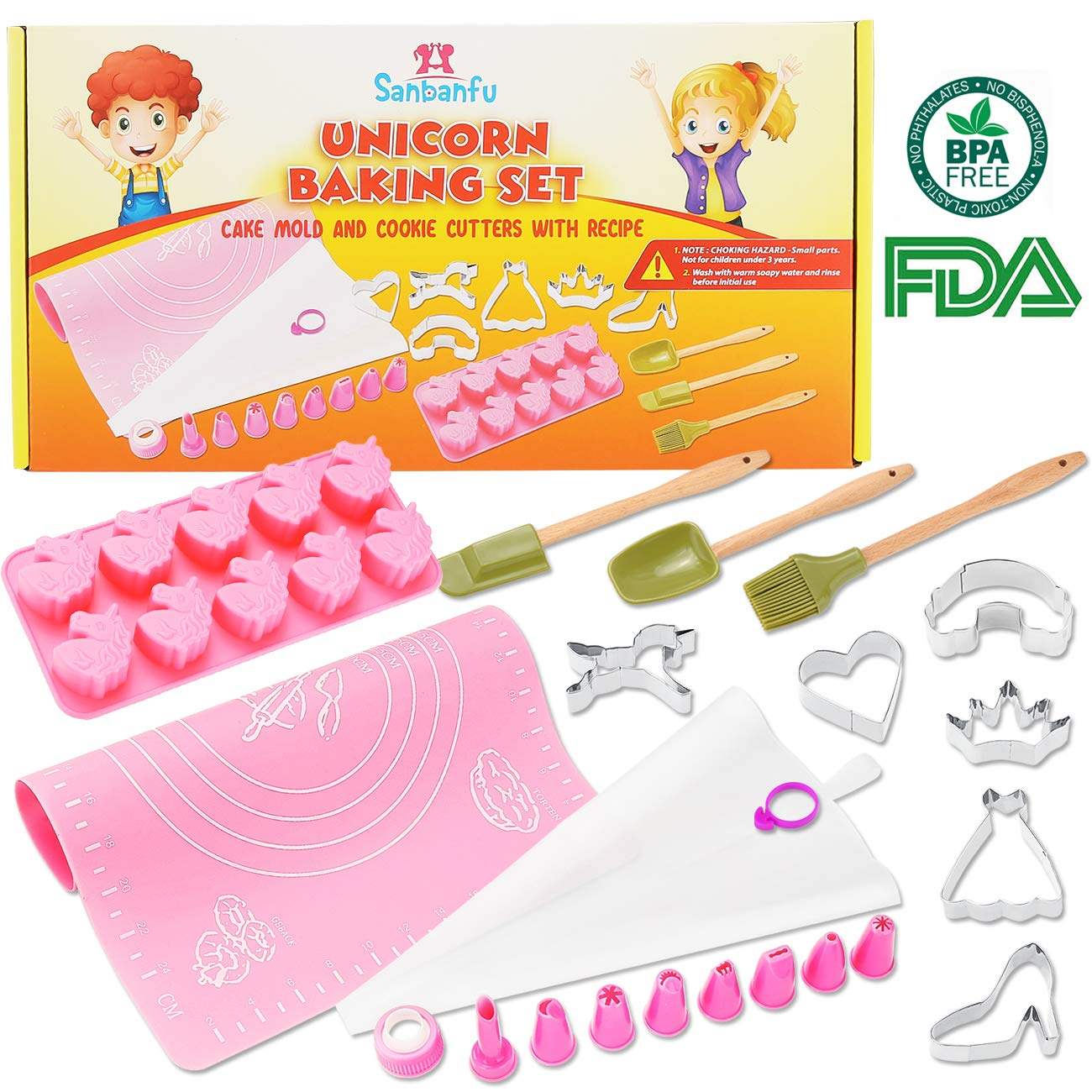 Fun Kids Unicorn Baking Set with Cupcake Mold, Cookie Cutters, 8 Frosting Decorating Tips, Kid Size Spatula, Brush, Spoon. Frosting Bag, Silicone Mat with Measurements, Delicious Recipes. FDA Approved sanbanfu