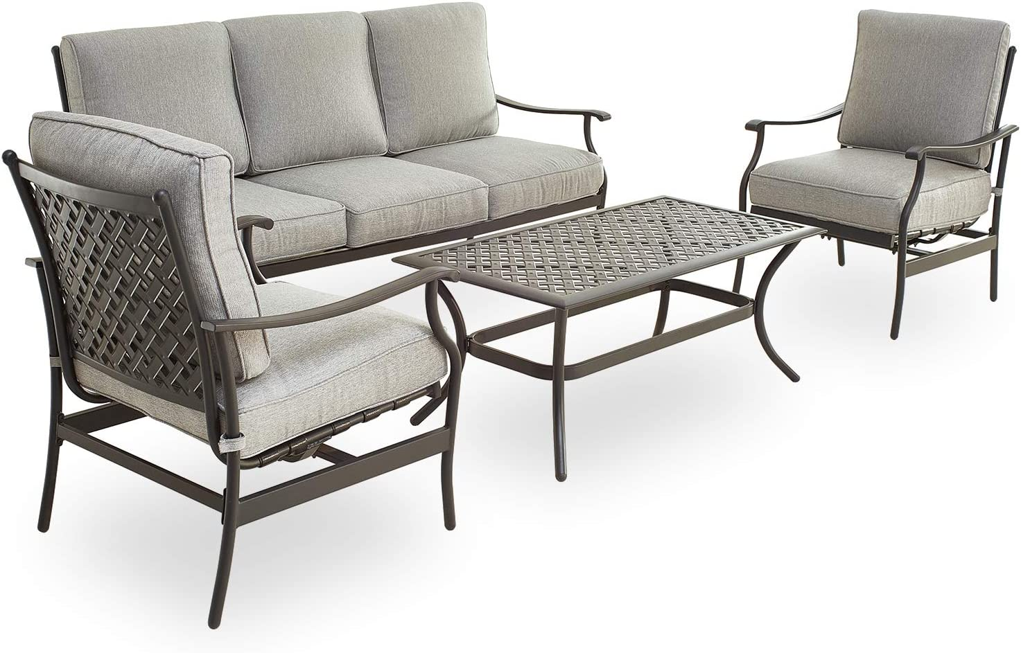PatioFestival Patio Conversation Set 4 Pieces Cushioned Outdoor Furniture Sets with All Weather Steel Frame