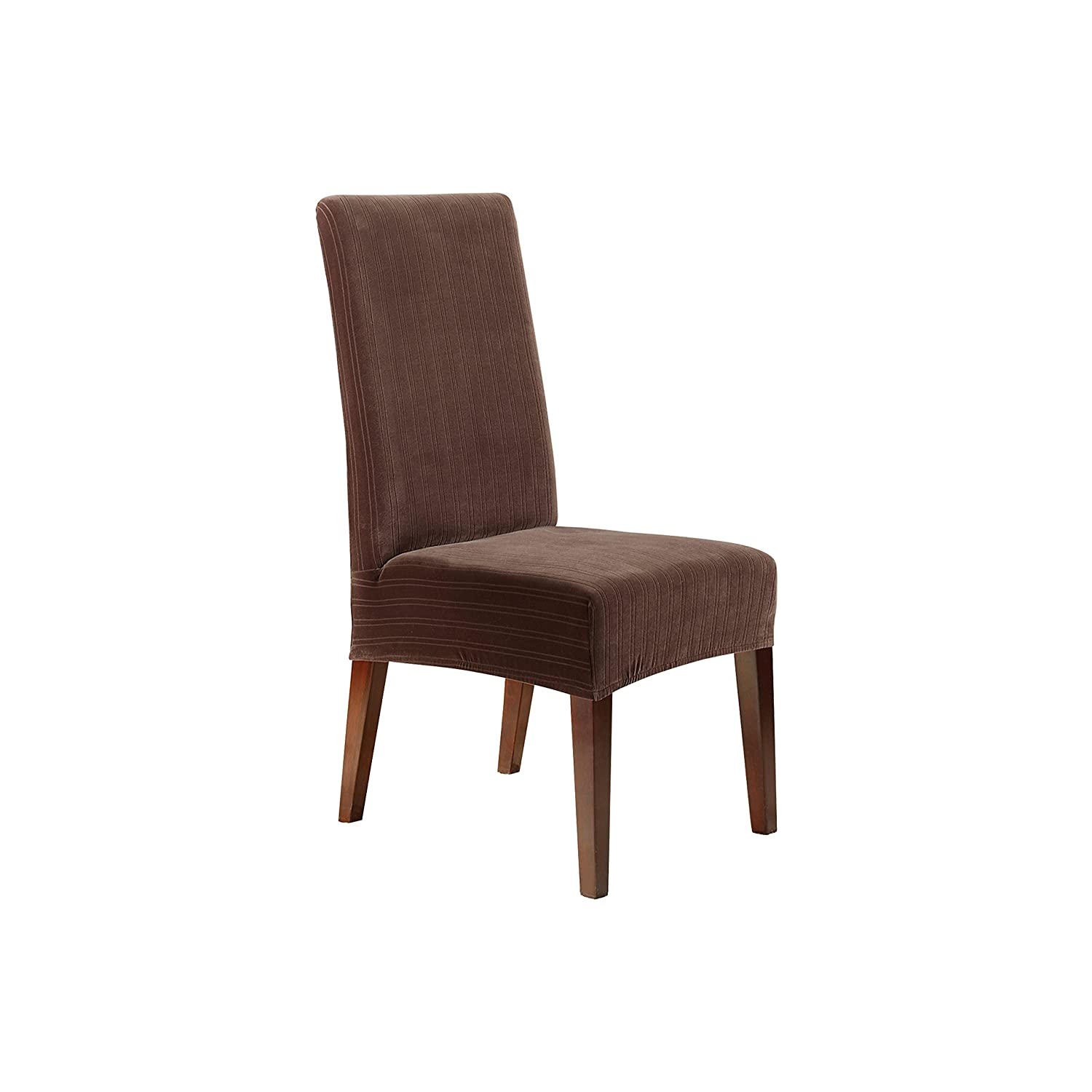 Stretch Dining Room Chair Covers Amazoncom Sure Fit Stretch Pinstripe Shorty Dining Room Chair