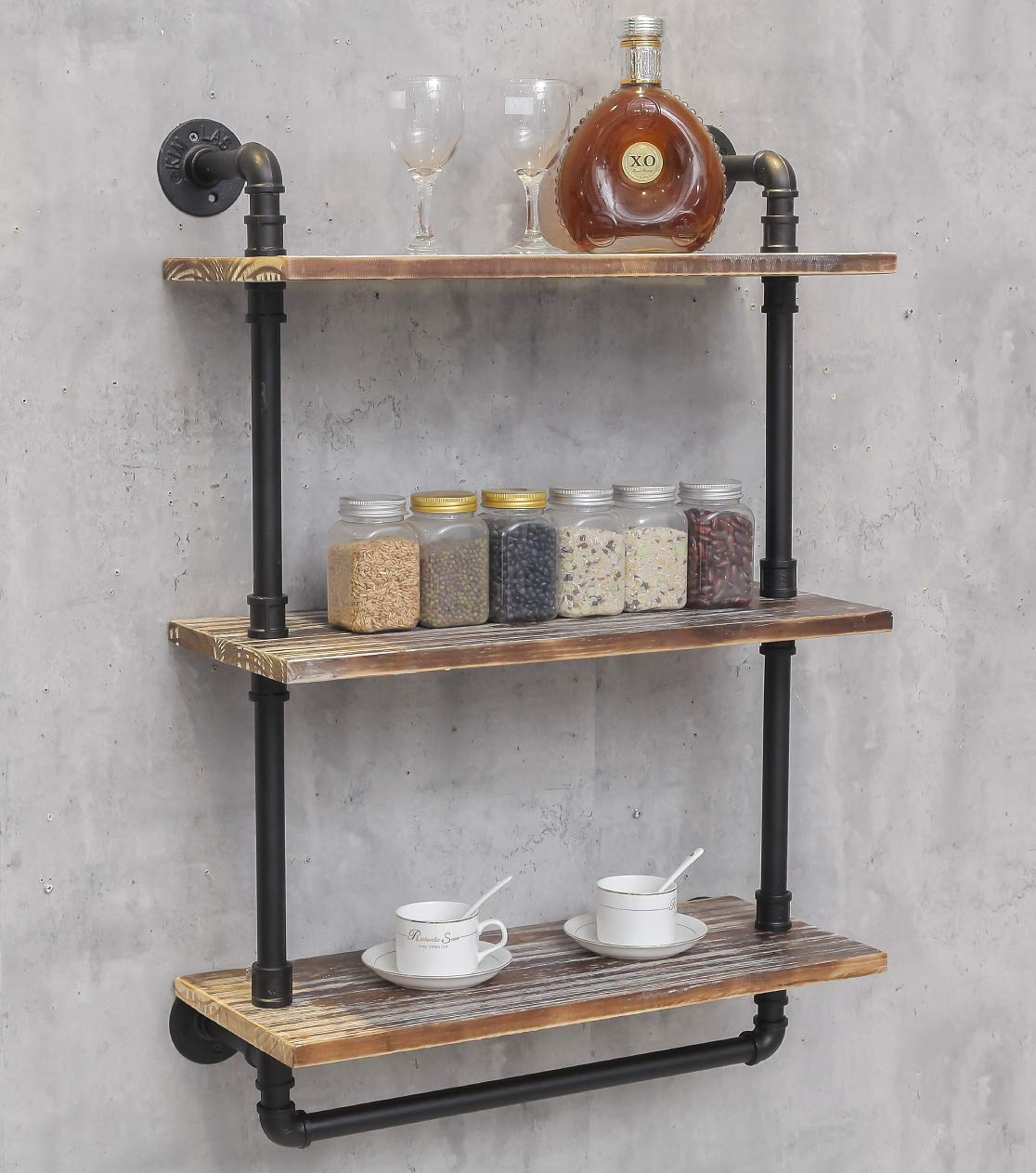 DOFURNILIM Industrial Retro Wall Mounted Iron Water Pipe Shelf – Hung Bracket – DIY Storage Shelving Bookshelf – Wood Shelf 24 Width Wall Bookcases