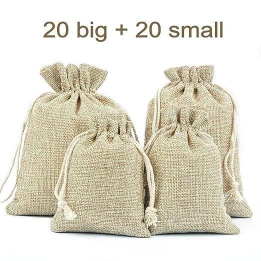 JZK 40 x Bolsita saco de yute con cordón bolsa de arpillera ...