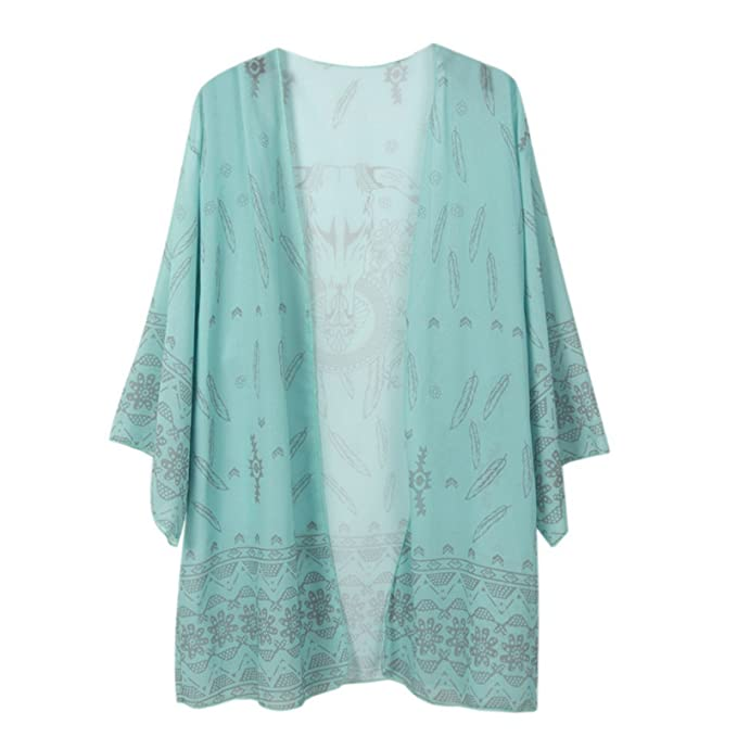 Beauty7 - Räumungsausverkauf - Kimono Stil Damen Chiffon Übergroß  Strandponcho Sommer Überwurf Kaftan Strandkleid Bikini Cover 6c59371b2c