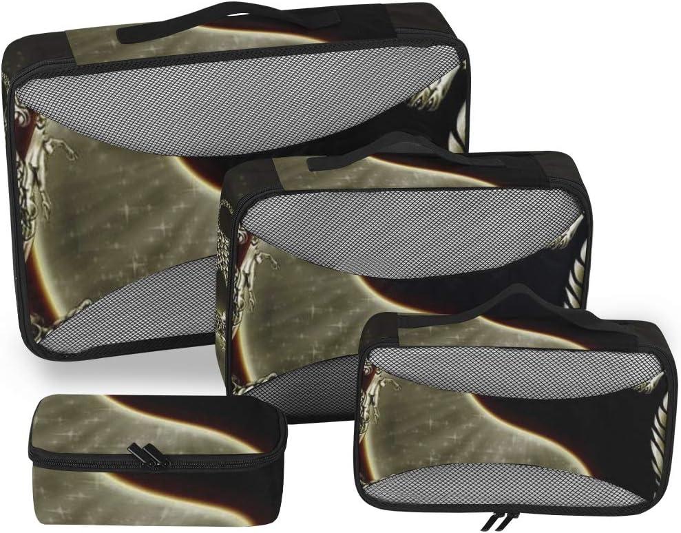 Organizador de Equipaje Bolsas de Embalaje Dragon Tiger Tai Bagua Yin Yang Cubos de Viaje Cubos de Embalaje de Viaje Set 4 Piezas Organizador de Maletas Bolsa de Almacenamiento de Equipaje Ligero