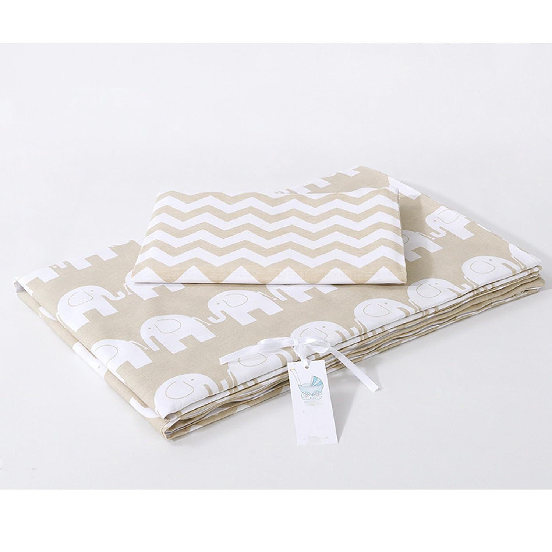 *NEW* Parure de lit bébé avec DESIGN REVERSIBLE - 2 pièces 100% coton BIO - ZigZag Elephants Beige 90x120 Sevira Kids
