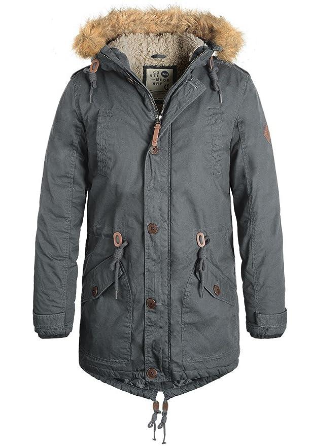 Redefined Rebel Mapee Herren Winterjacke Parka Mantel Lange Jacke gef/üttert aus 100/% Baumwolle mit Kunst-Fellkapuze