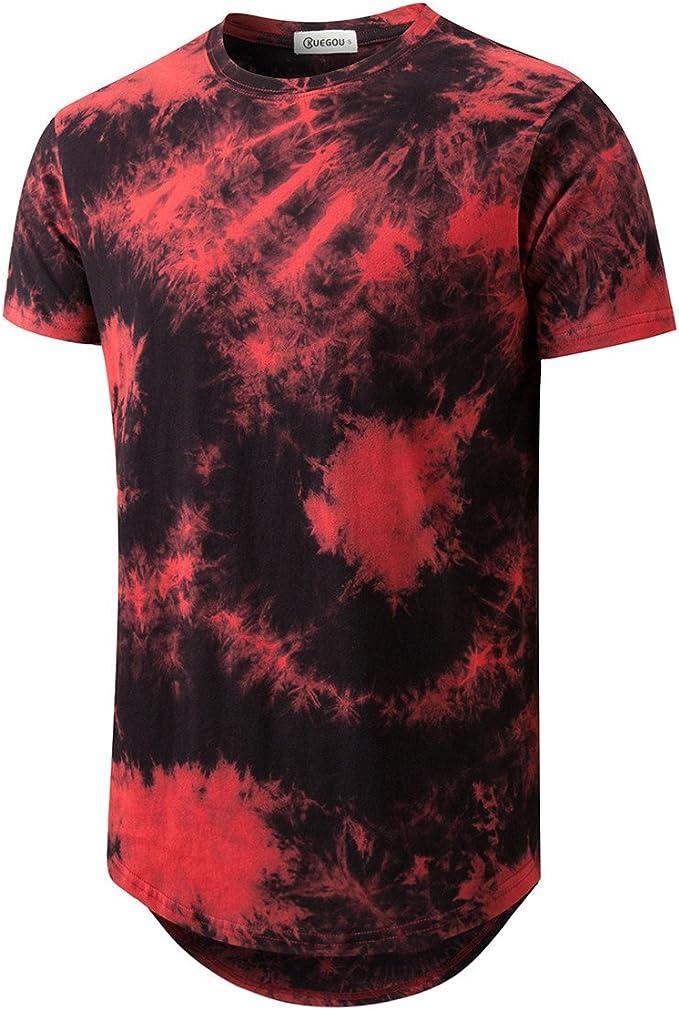 Camiseta para hombre con dobladillo curvo y teñido