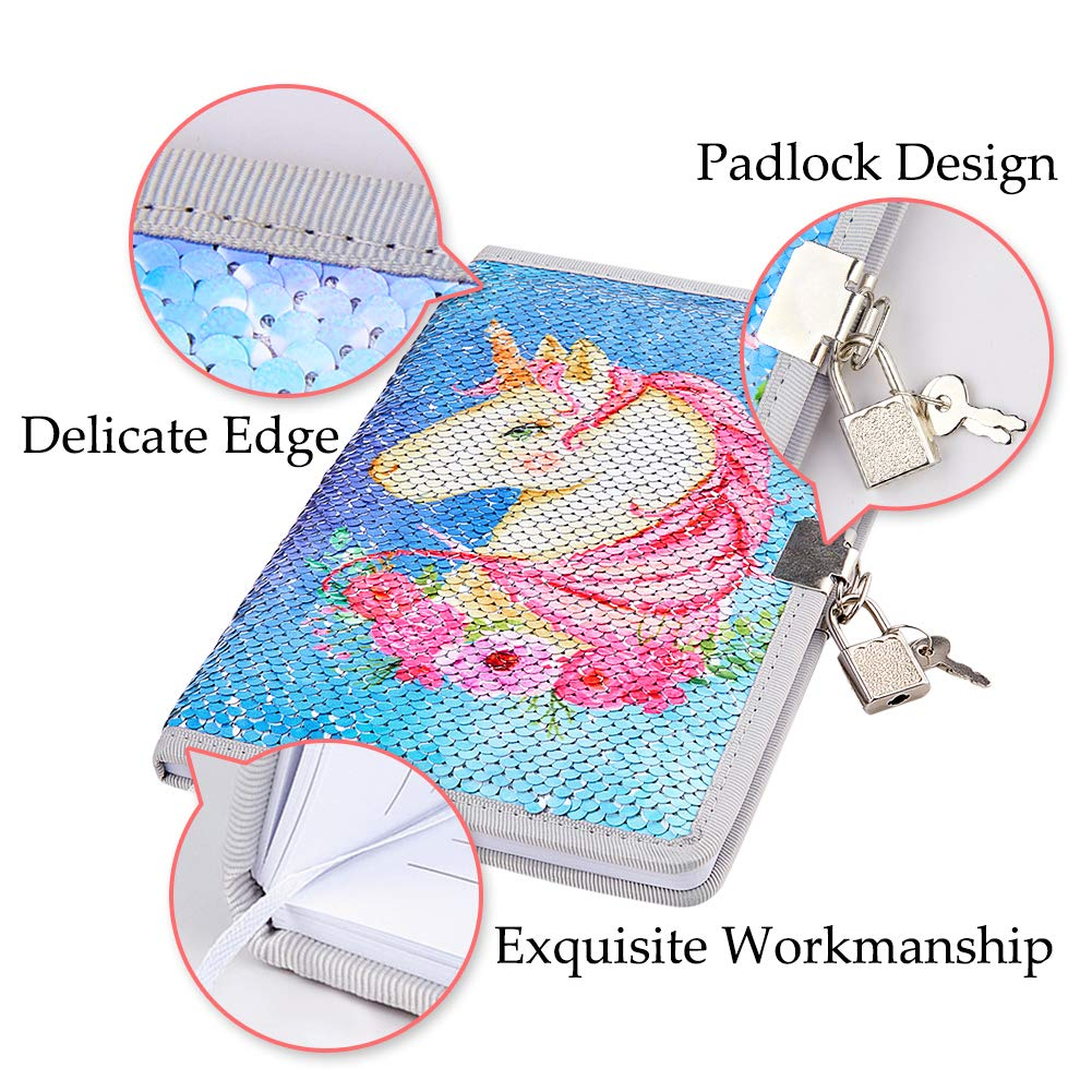MHJY Unicorn Notebook Sequin Secret Diary with Lock,Reversible Mermaid Sequin Notebook Private Journal Magic Travel Journal Unicorn Notebook Gift for Adults and Kids