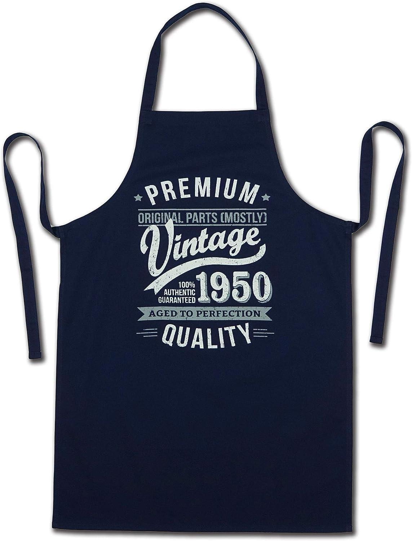 70 Cumplea/ños Regalos 30 a/ños Delantal para Hombre Beige My Generation Gifts 1950 Vintage Year Aged To Perfection