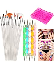 Nail Art Tools Set with 15 Pcs Polish Brush 5 Pcs Dotting Pen and 1 Brush Rack for Manicure Pedicure Rainbow Color