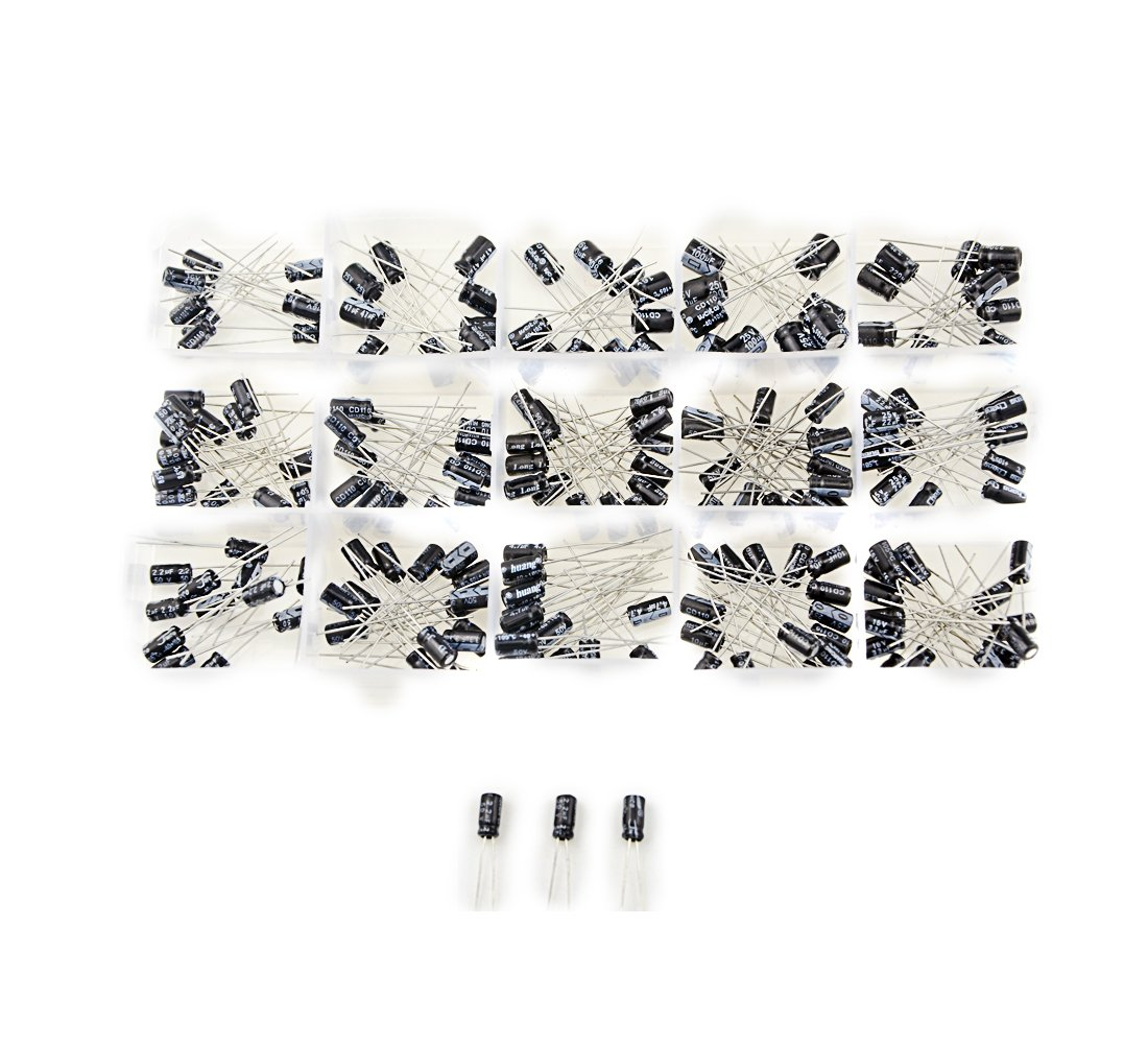 XLX 15 Values 200pcs 0.1uF~220uF Range Electrolytic Capacitors Assortment Kit 50V 25V 16V and 10V