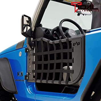 Tidal Spyder Web Tubular Door Left Right with Mirror Pair for 07-18 Jeep JK 2 Door
